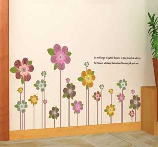 Reusable Decoration Wall Sticker Decal - Flowers With Poem $12.99