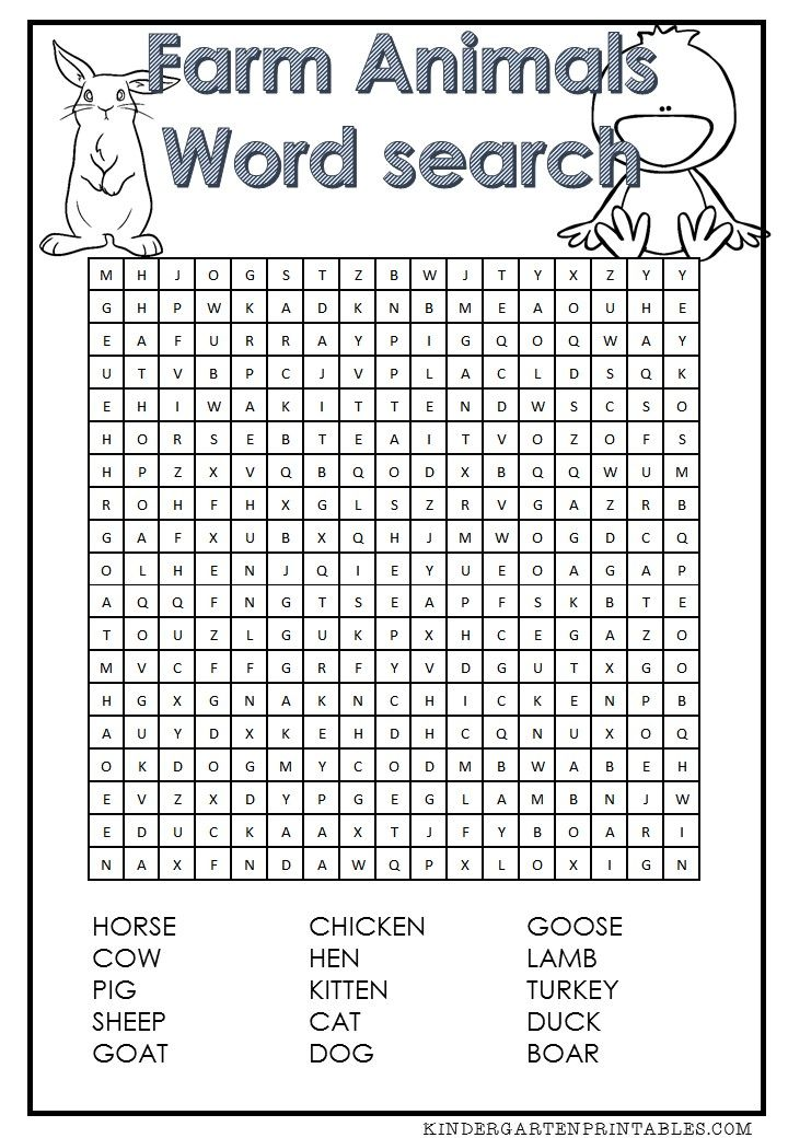 Declarative image in animal word searches printable