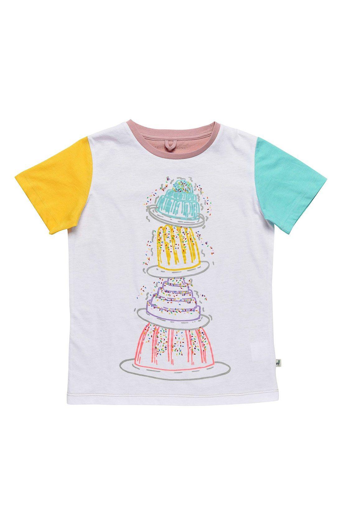 Stella McCartney Kids 'Arlo' Colorblock Organic Cotton Tee (Toddler Girls, Little Girls & Big Girls)