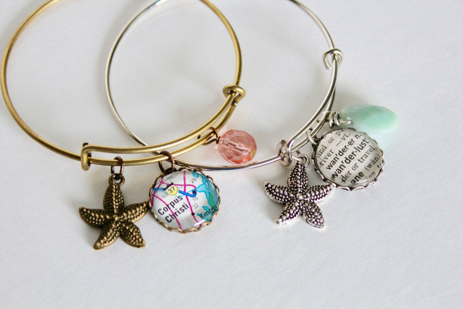 Starfish bangle bracelet custom map bracelet custom word beach