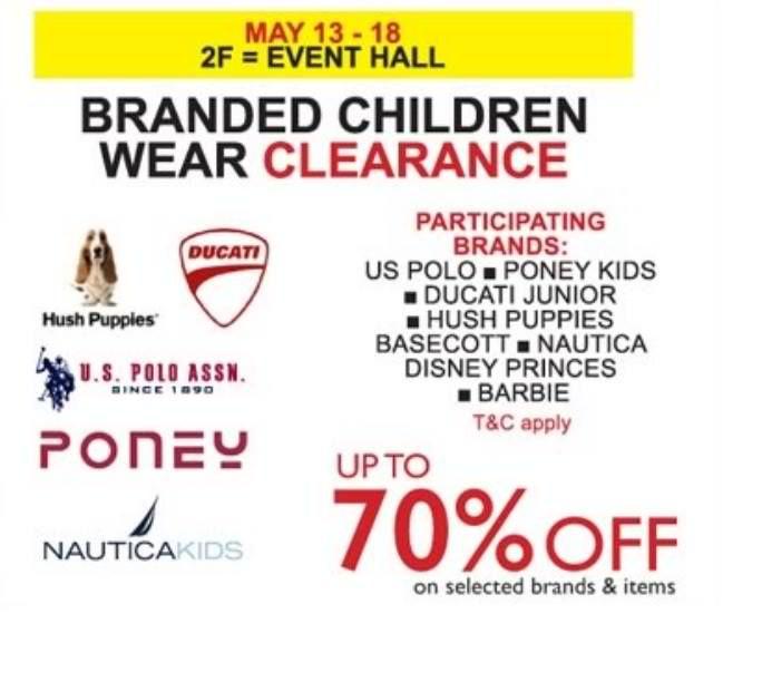 13-18 May 2016: Isetan Branded Children Wear Clearance Sale