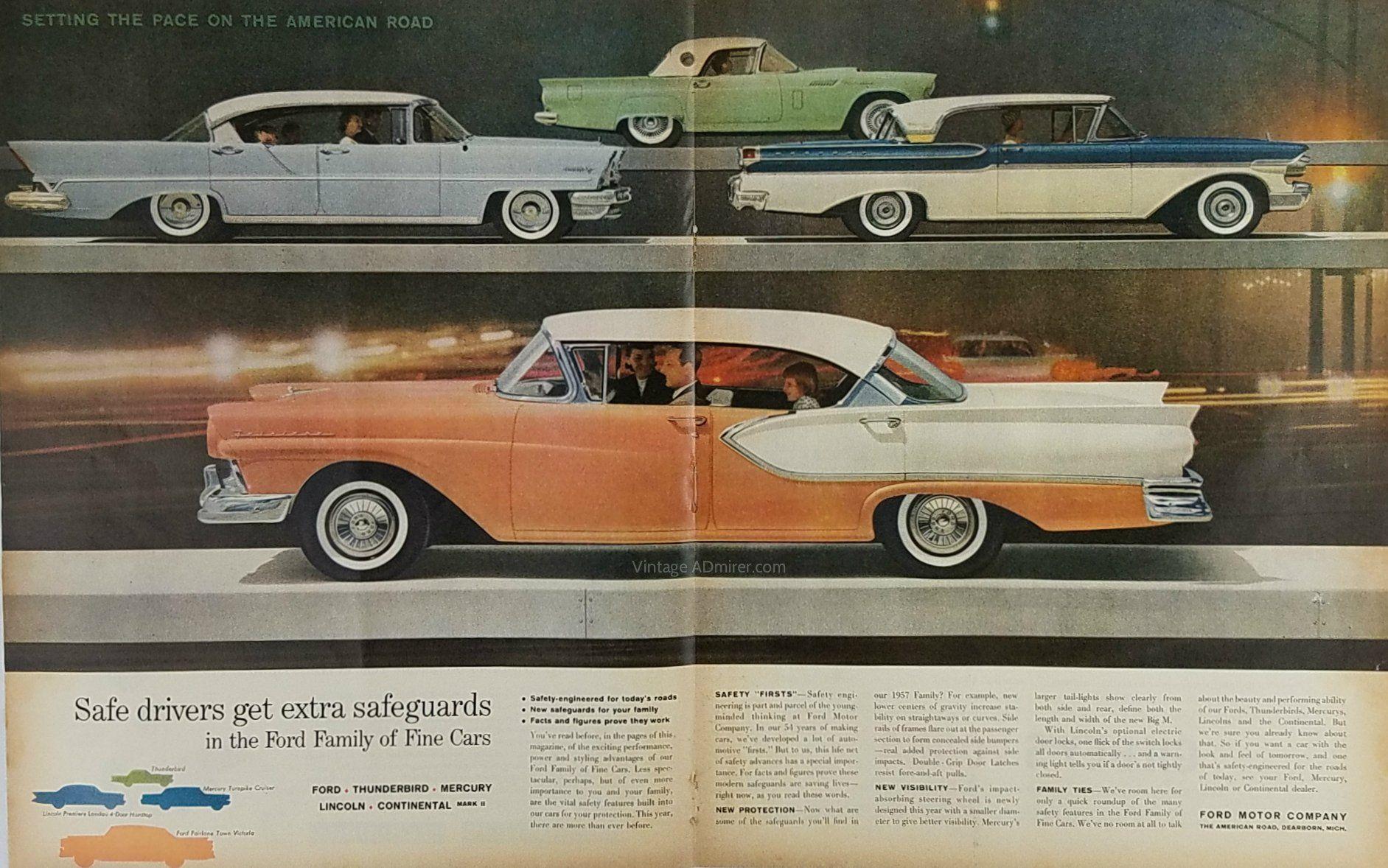 1957 ford lincoln mercury cars vintage ad thunderbird fairlane landau turnpike