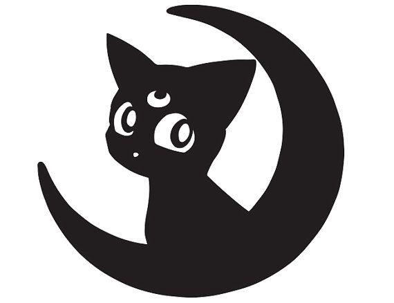"Sailor Moon Luna Cat Decal Sticker JDM Funny Vinyl Car Window Bumper Laptop 12/"""