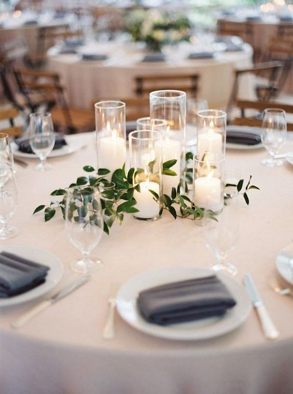 Simple Elegant Wedding Centerpiece Ideas With Greenery And Candles