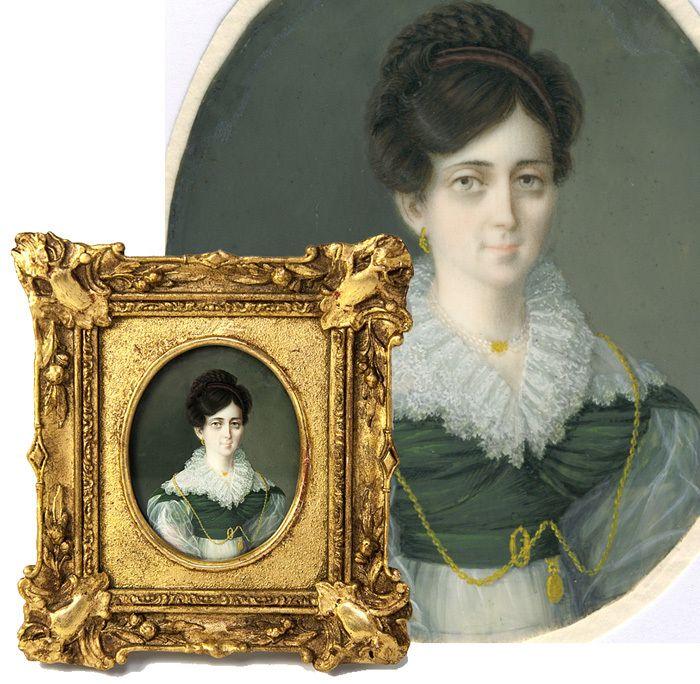Antique Georgian English Portrait Miniature, Elegant Lady with Jewelry, Fine Frame