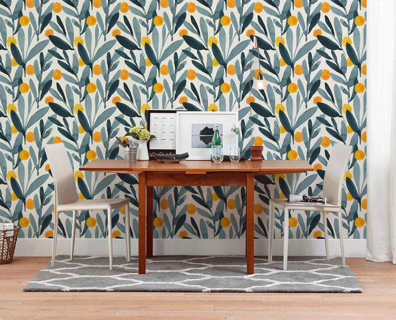 Removable Wallpaper Peel And Stick Wallpaper Wall Paper Wall Mural Gray Watercolor Leaves And Yellow Dots A401 Removable Wallpaper Scandinavian Wallpaper Wall Wallpaper