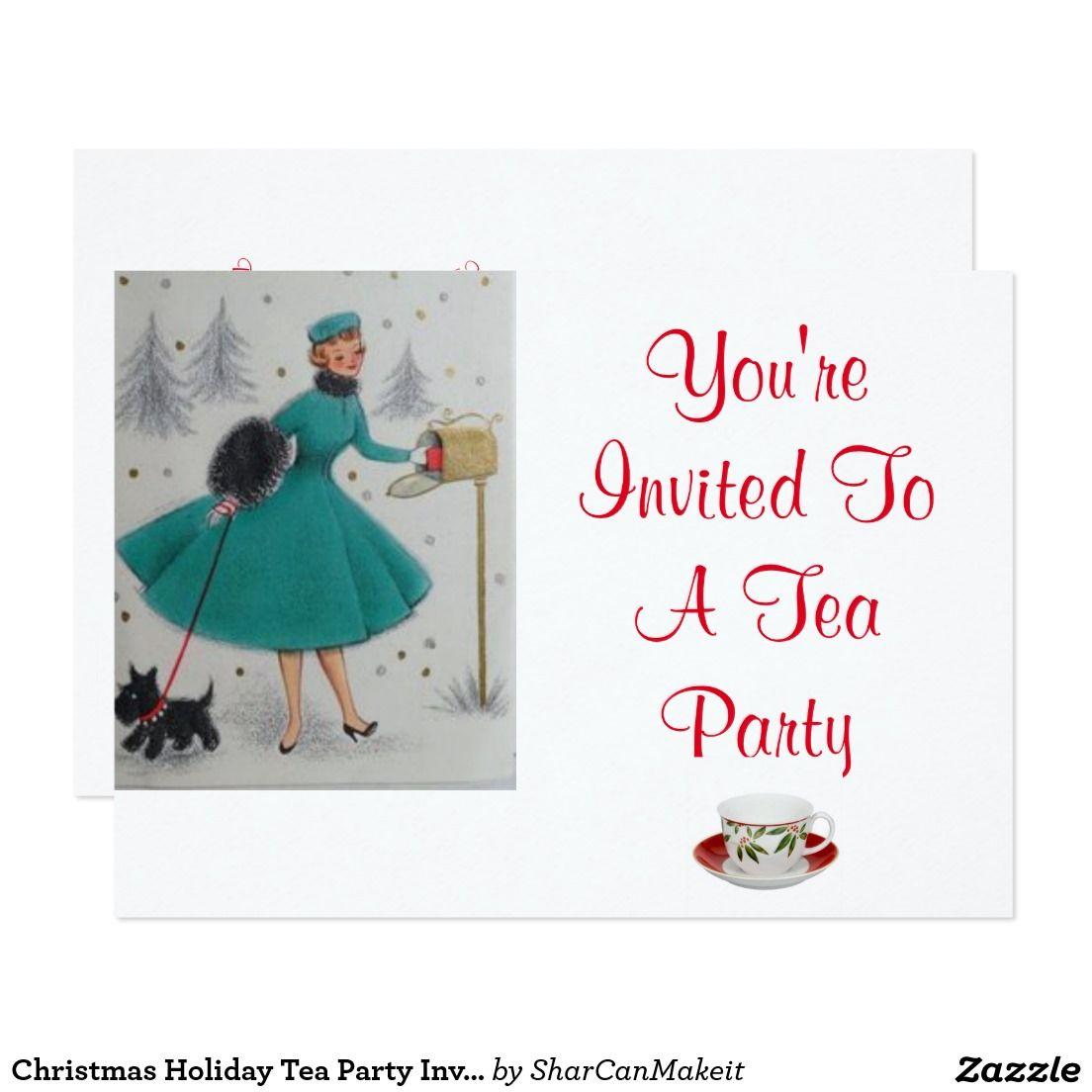 Christmas Holiday Tea Party Invitation | Tea party invitations, Tea ...
