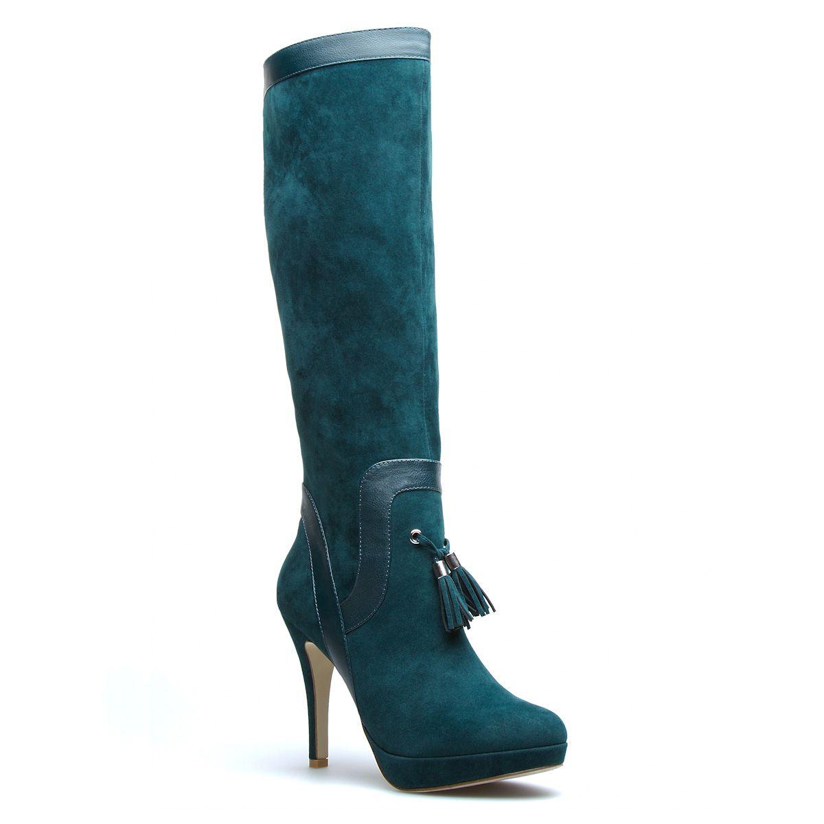 Velvet knee High Boot.
