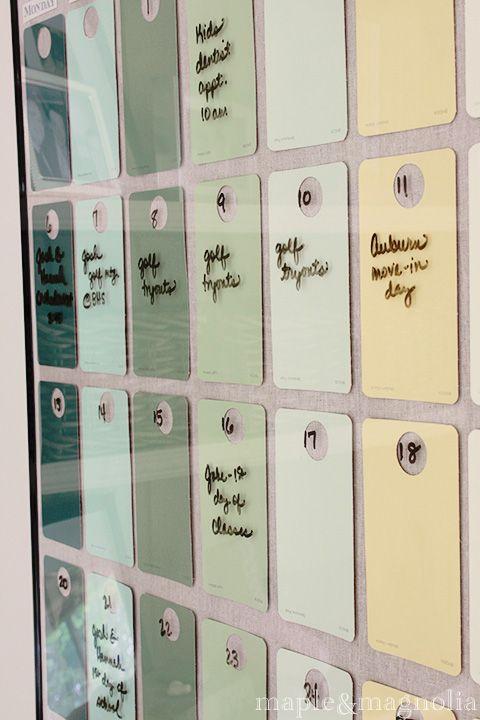 Diy Dry Erase Paint Chip Calendar 0 Https Www Facebook