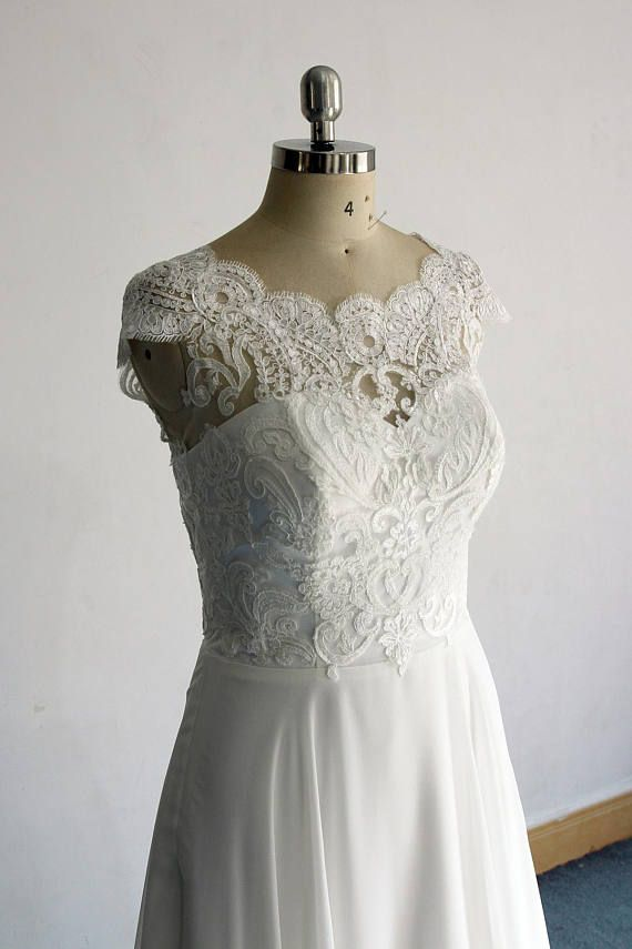 Ivory A line chiffon see thru sheer lace wedding dress with scallop ...