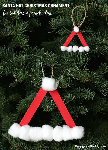 Santa Hat Homemade Christmas Ornament Using Craft Sticks