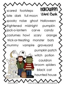 use this story paper and halloween word bank to inspire and help your students - Story About Halloween