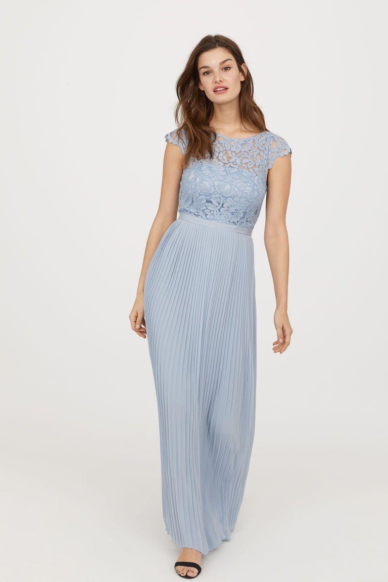 140307e10d Pleated Long Dress - Light blue -