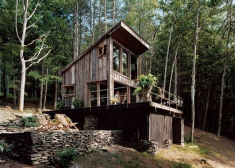 Cabin made from salvaged and reclaimed materials.