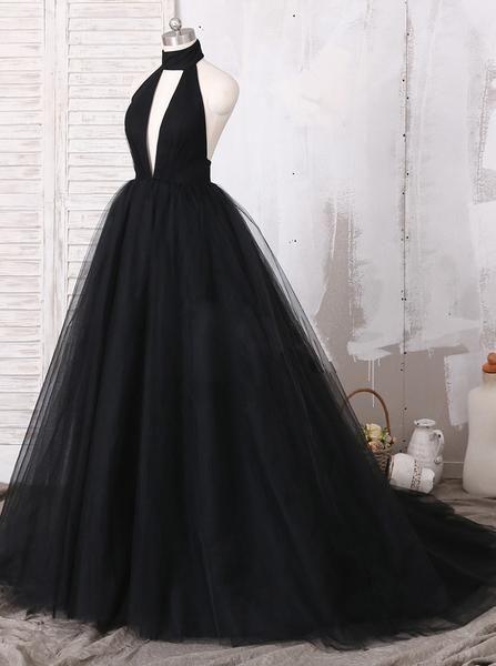 Robe de bal noire longue en tulle, Robe de bal de bal en tulle, Robe de soirée ...