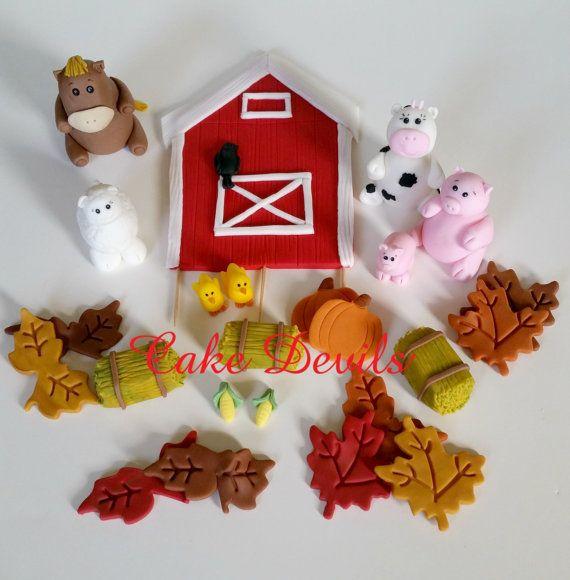 Horse, cow, pig, lamb, sheep, Cake, Fall Barn & Farm Animal Fondant Cake Topper Kit, Pumpkins cake topper, Fall leaves cake decorations