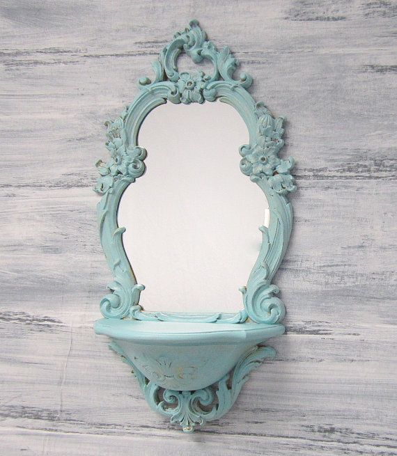 Baby Girl Nursery Decor Shabby Chic Mirror For by RevivedVintage, I think I would want one in brown or bronze and would put a little bird on the shelf to create a 'birdbath' scene