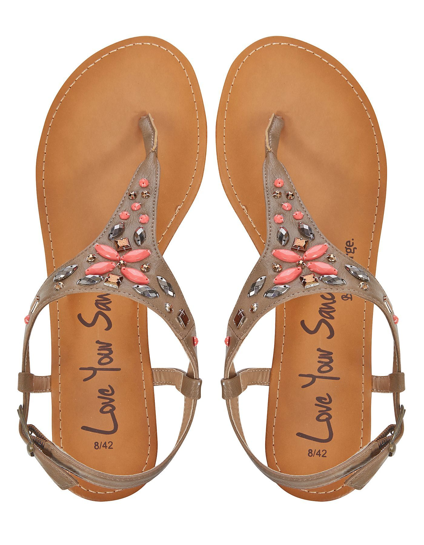 Jeweled sandals, Womens sandals, Asda