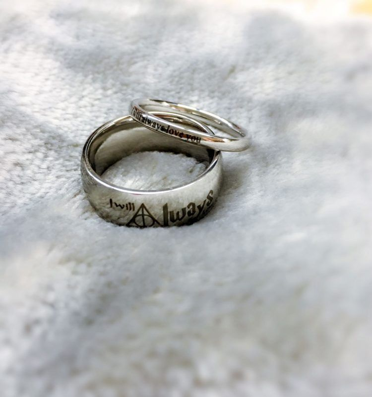 Harry Potter Wedding Ring Set Weddingringsetshisandhers Harry Potter Wedding Rings Rose Gold Wedding Band Diamond Diamond Alternative Engagement Ring