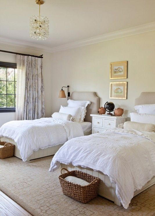 Transitional Interior Design Woman Bedroom Twin Beds Guest Room