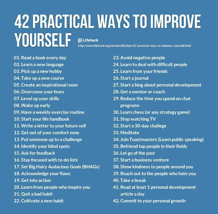 Good Ways To Improve Yourself. Life Things. [Although  For The Record  I Think  You Are Perfect.;)] Some Good Ones, Although Meditating Would Mean Deep  Thinking ...