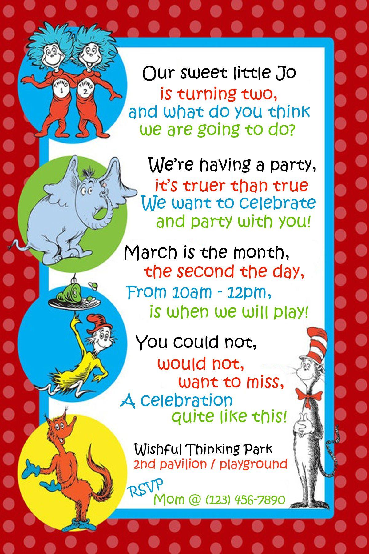 Dr Seuss Invitation for Second Birthday Birthdays