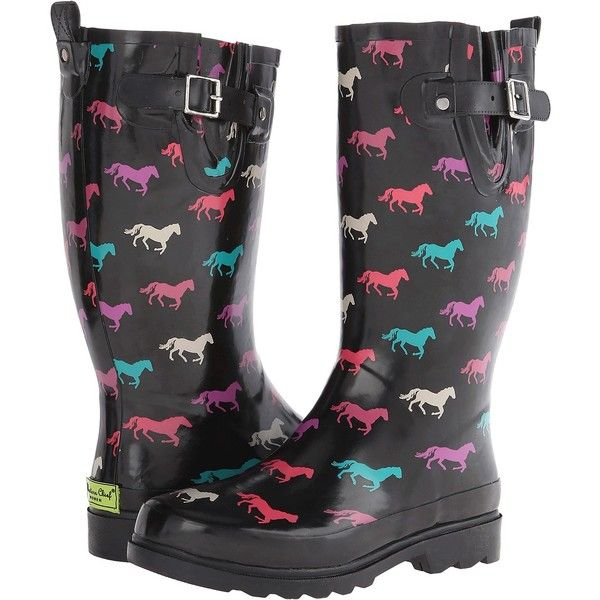 8a1a39d182400 Western Chief Down Hill Trot (Black) Women s Rain Boots ( 25) ❤ liked