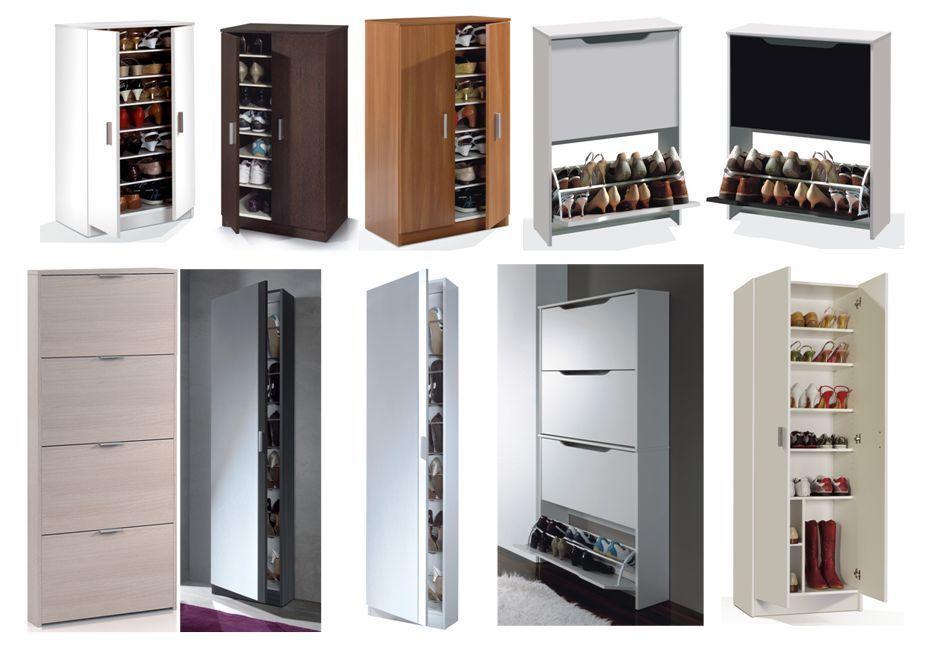Superb Shoe Storage Cupboard Cabinet Rack White Gloss Mirrored Black Brown Oak Unit