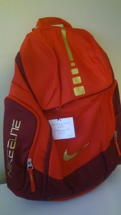 5ade346ae811 NIKE Hoops Elite Max Air Team Basketball Backpack Laptop Gym Bag BA4880 RED  GOLD in Clothing