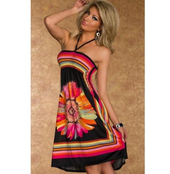 d013d244d1a Dámské lehké volné šaty s květinou černé – Velikost L Na tento produkt se  vztahuje nejen
