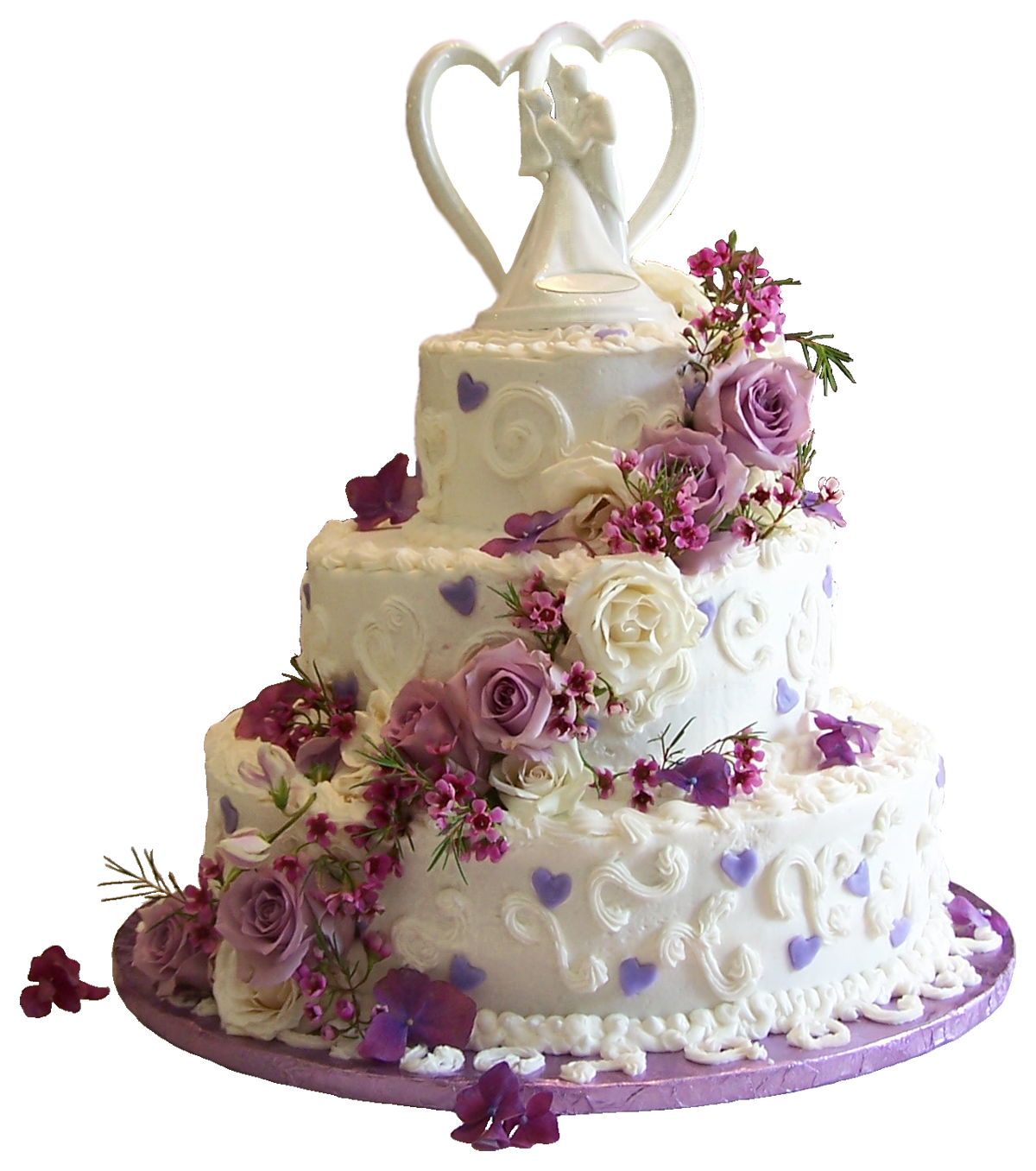 White Wedding Cake with Purple Roses PNG Clipart Tiered