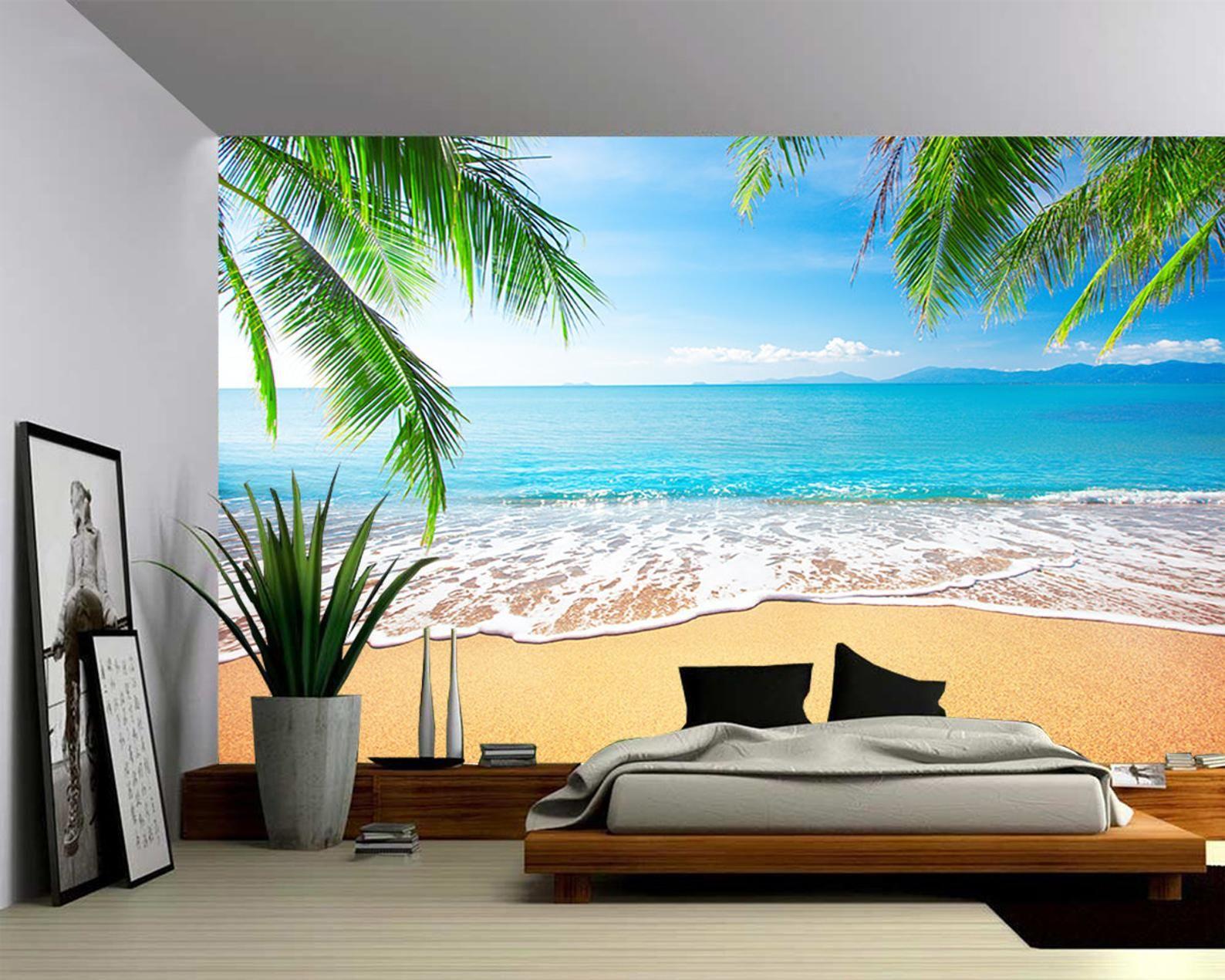 Palm and Tropical Beach Large Wall Mural, Selfadhesive