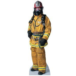 Cool life size firefighter stand up... he can hold the place until our REAL firefighters come to save the day!