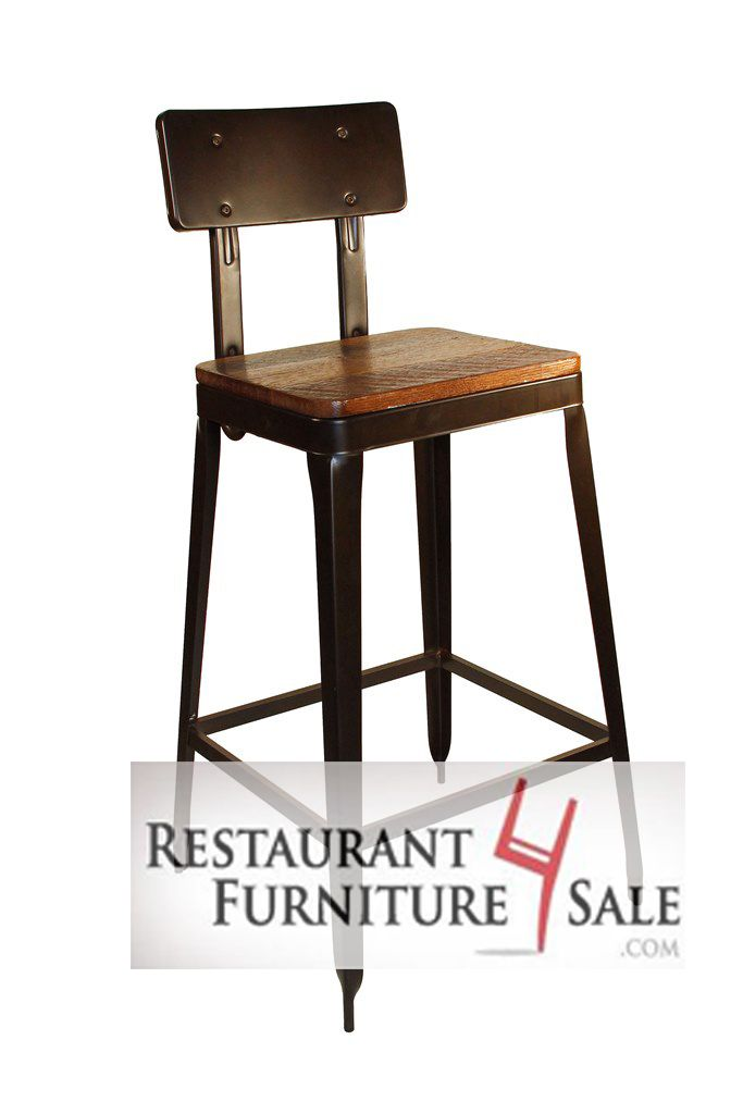 Metal Restaurant Chairs Office Chair Air Cylinder Repair Modern Industrial Simon Bar Stool W Reclaimed Wood Seat Furniture