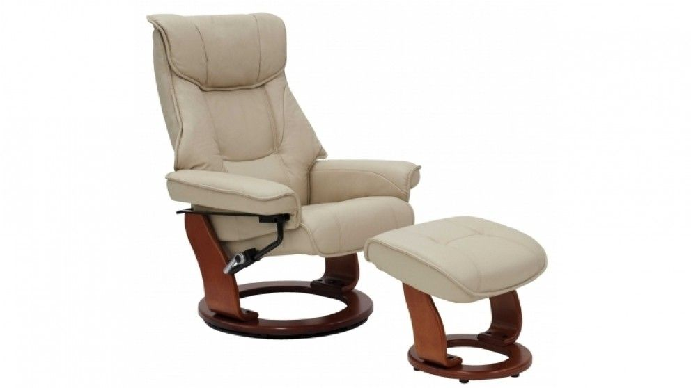 Enjoyable Orebro Leather Recliner And Footstool Living Room Pabps2019 Chair Design Images Pabps2019Com