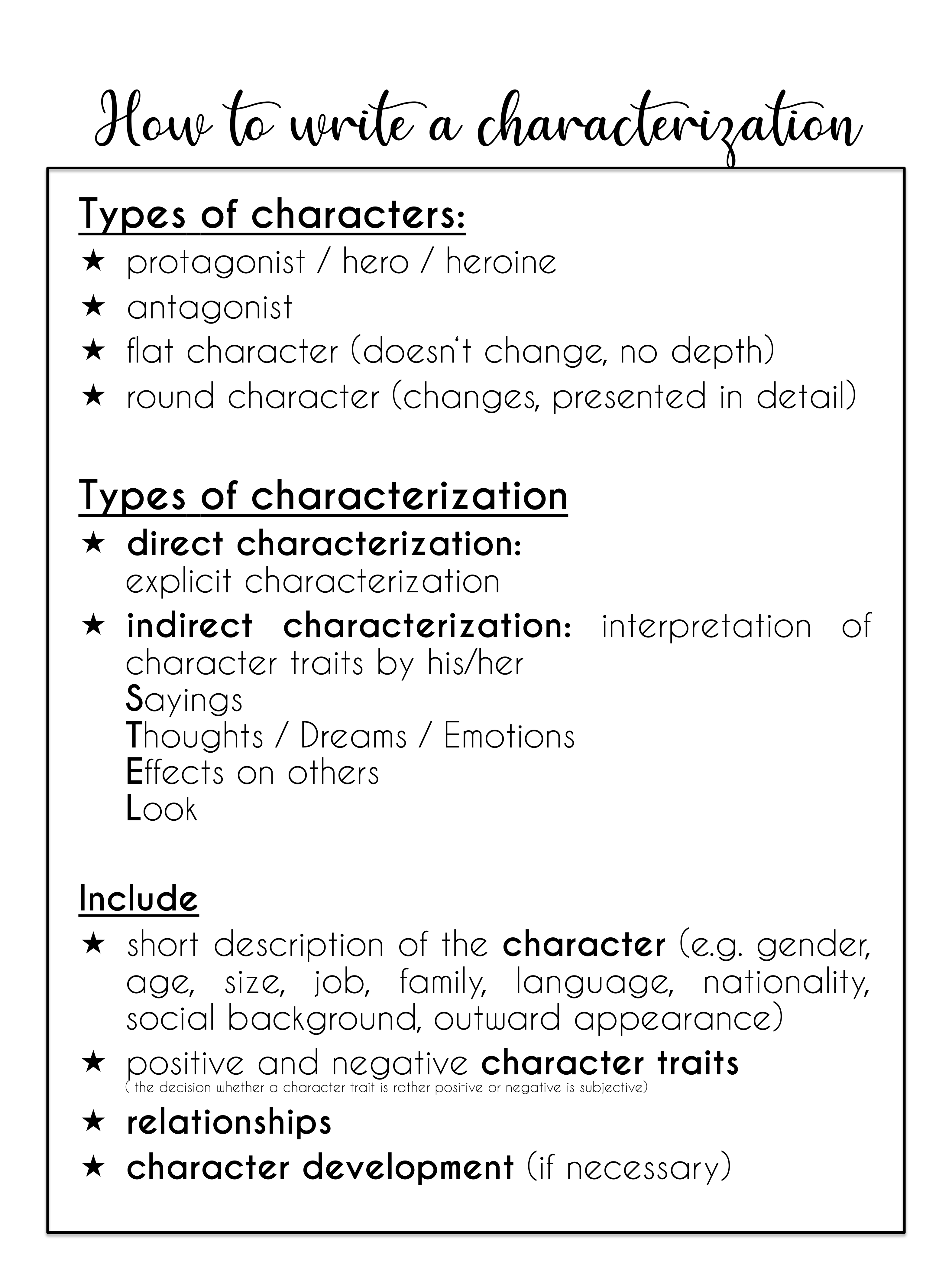 How to write a characterization characterization w/ useful phrases