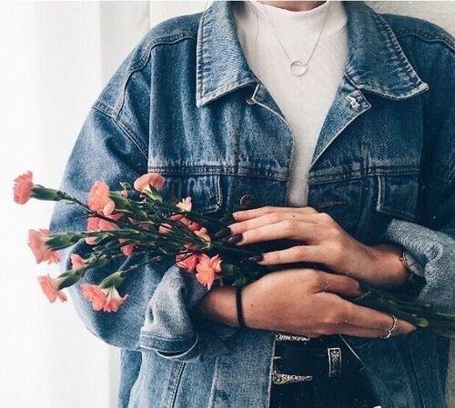 Photo Girl Fashion Denim Flowers Pink Fotografi Gambar Bunga