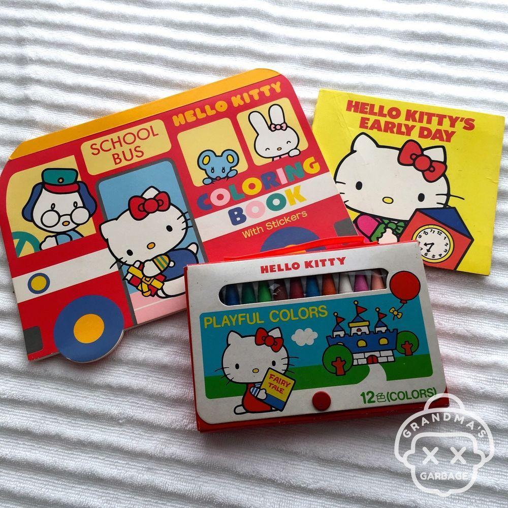 c9a635a11 VTG Sanrio (HELLO KITTY) Kawaii Coloring BOOK & CRAYONS Lot Fairy Kei  1976