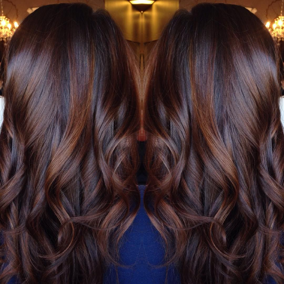 Coiffure Cheveux Long Brun Long Curled Chocolate Brown Hair With Cinnamon Highlights