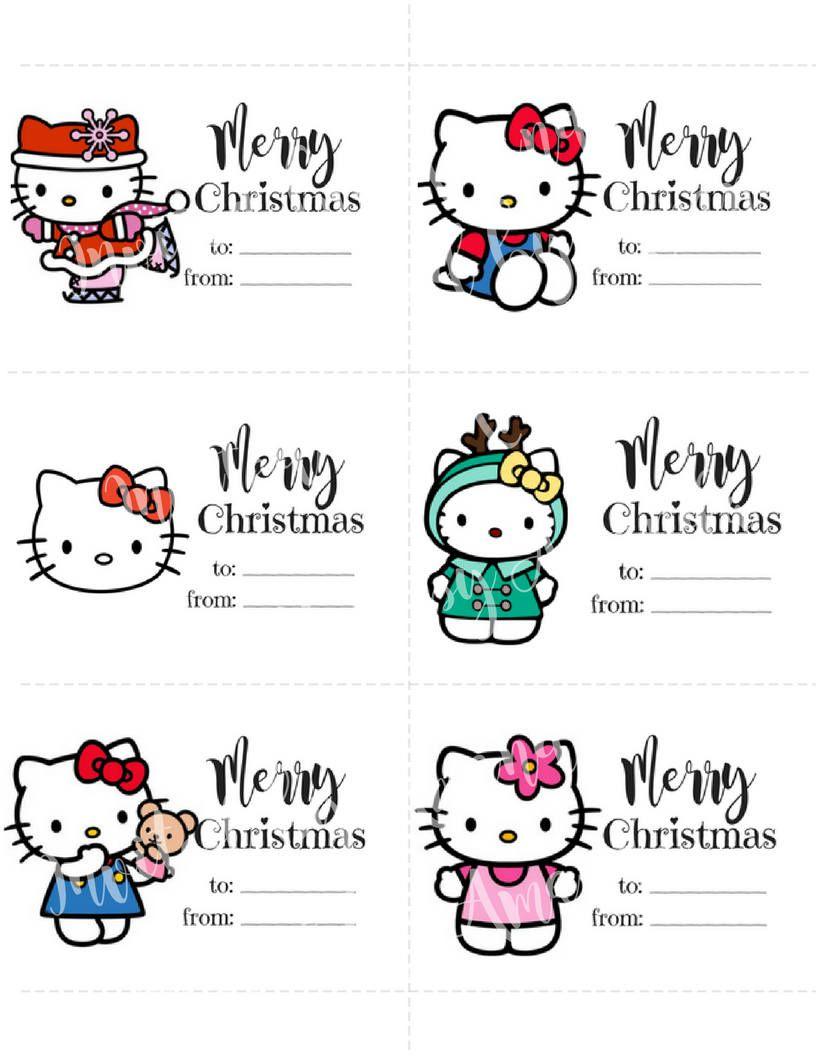 Hello kitty christmas gift tags print