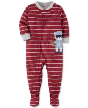 eaea682f6d77 Carter s 1-Pc. Striped Football Footed Fleece Pajamas