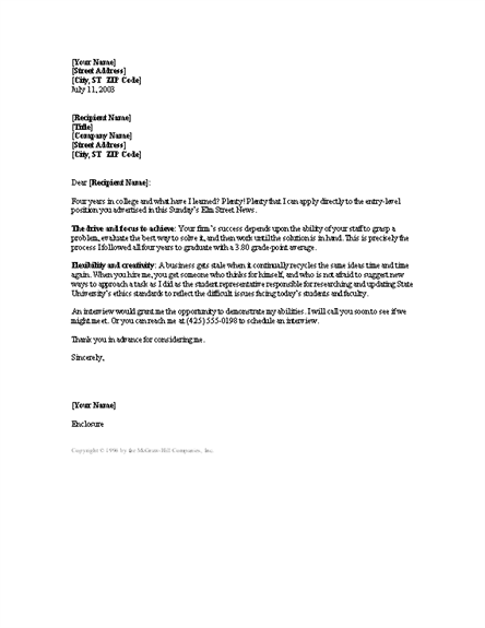 New College Grad Cover Letter Reply Letters Templates Graduate
