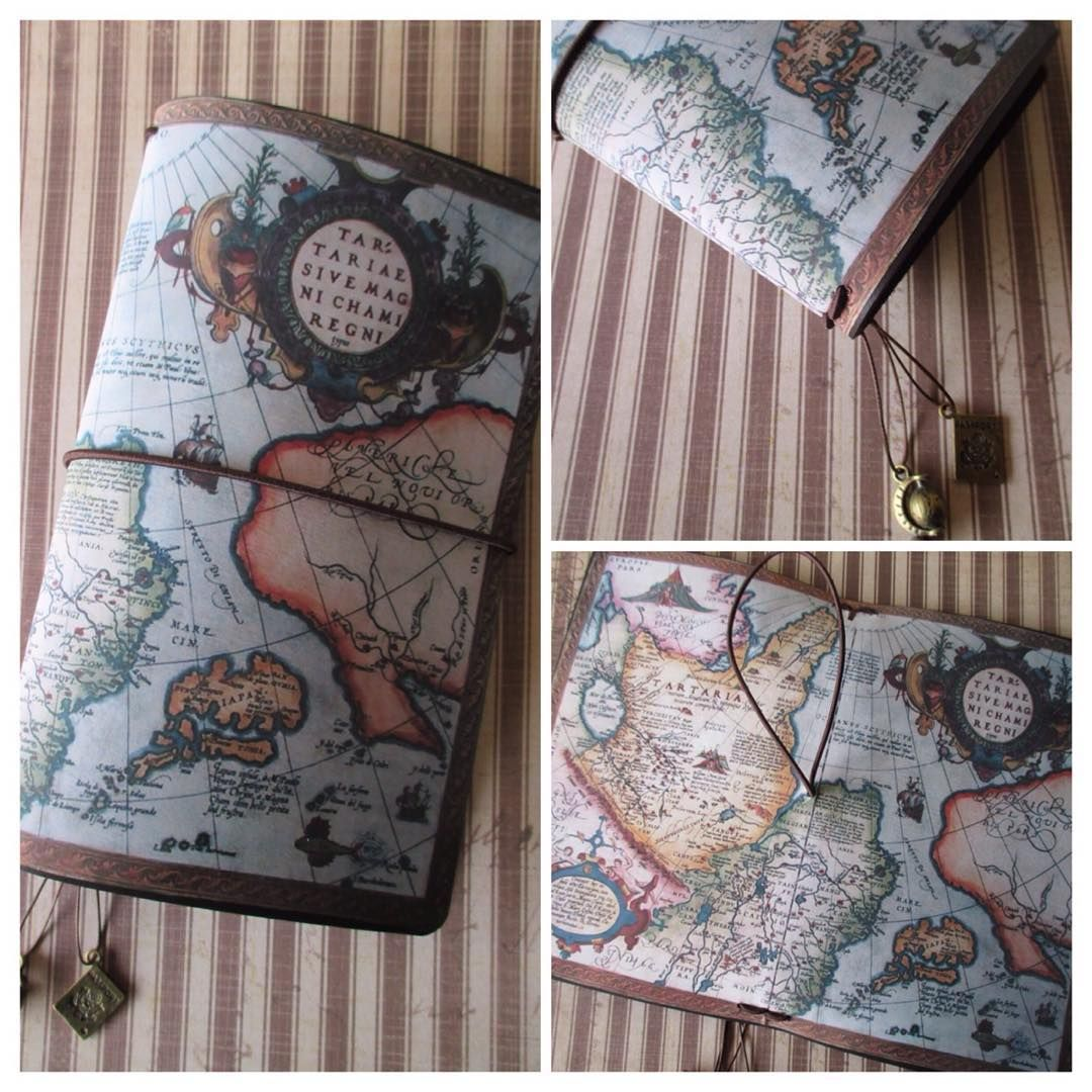 Personal size midori style travelers notebook with vintage world personal size midori style travelers notebook with vintage world map imprinted on the leather includes gumiabroncs Gallery