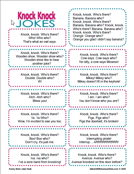 Knock Knock Jokes For Kids 20 Funny And Printable Jokes Funny Jokes For Kids Jokes For Kids Funny Knock Knock Jokes