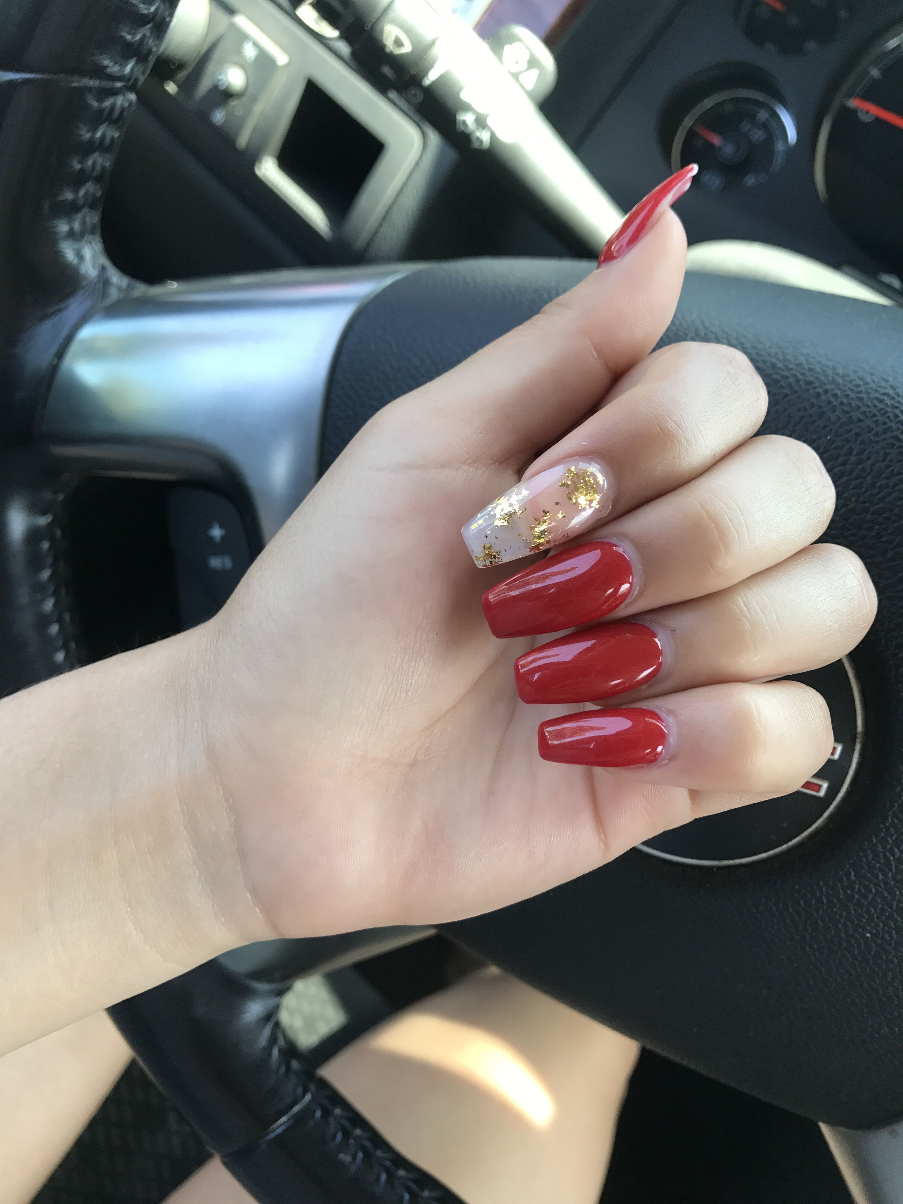 Red Coffin Nails Gold Flakes On The Index Finger Red And Gold Nails Gold Nails Gold Nails Prom