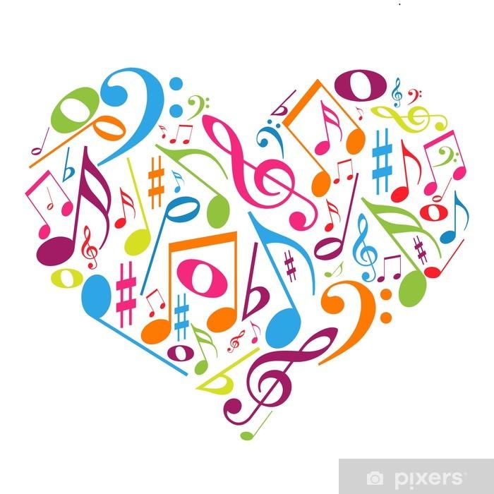 Vinilo Pixerstick Corazon Colorido Con Las Notas Musicales Gusto