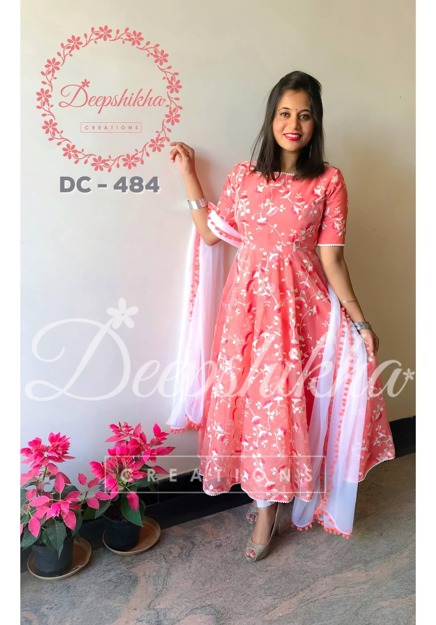 Beautiful Pink Color Floor Length Anarkali Dress With Floral PrintFor