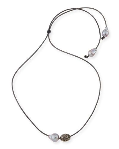 Margo Morrison Leather Cord Necklace Baroque Pearl Sliders q6qlakgfD