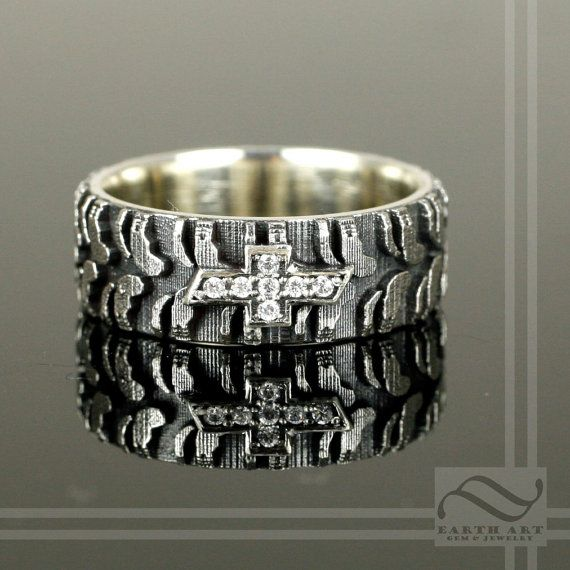 custom mens chevy tire tread ring with cz sterling silver - Tire Wedding Rings