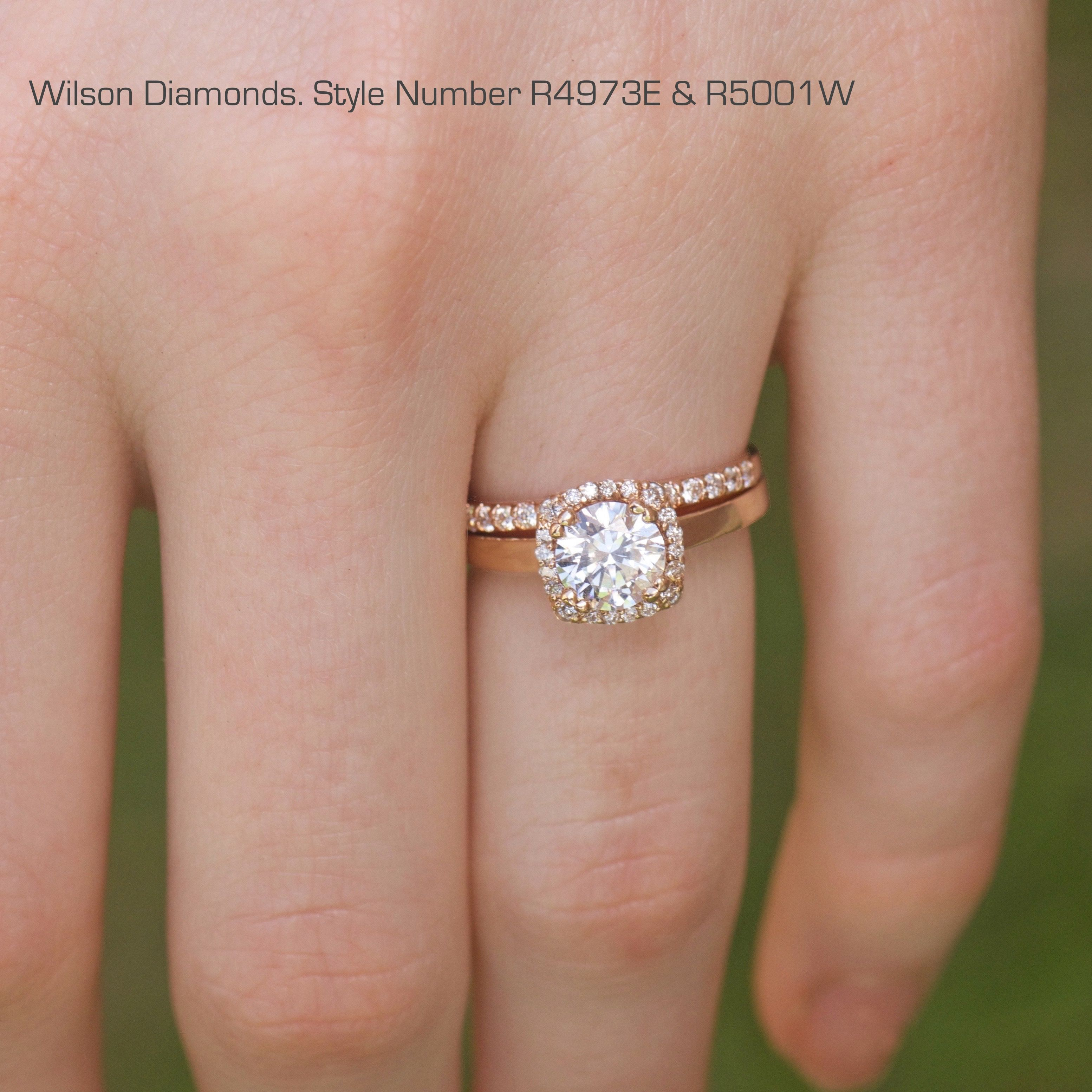 Classic cushion halo with a plain band Paired with a pave wedding